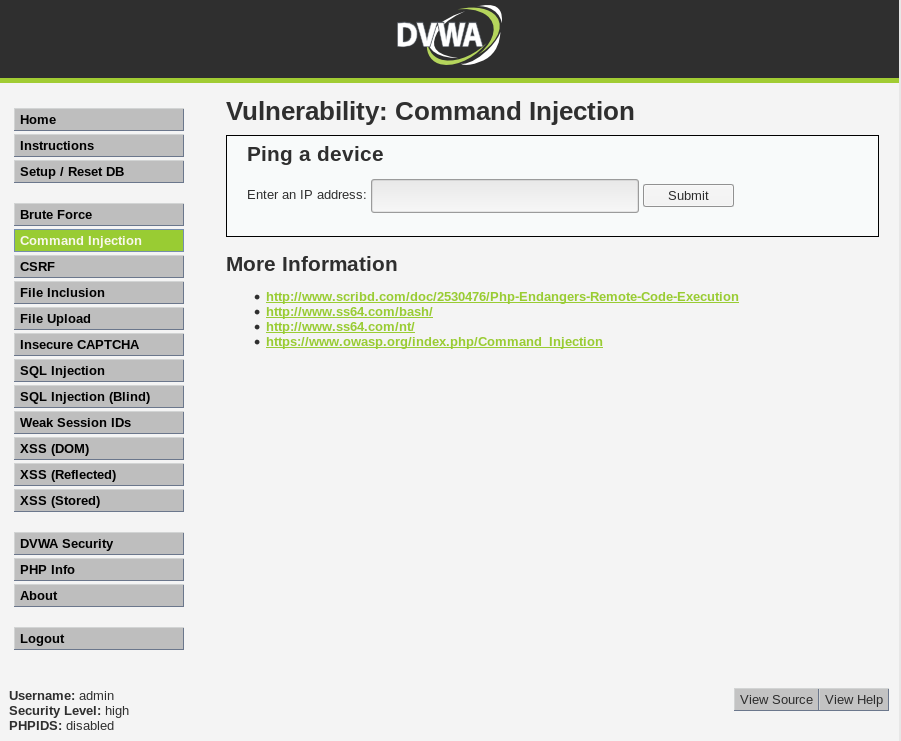 DVWA - Command Injection Page on high security setting