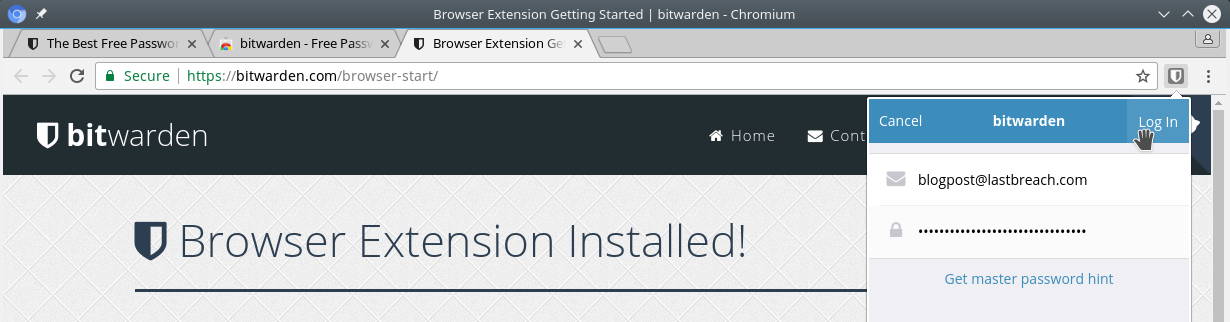 Bitwarden Browser Plugin Login Screen
