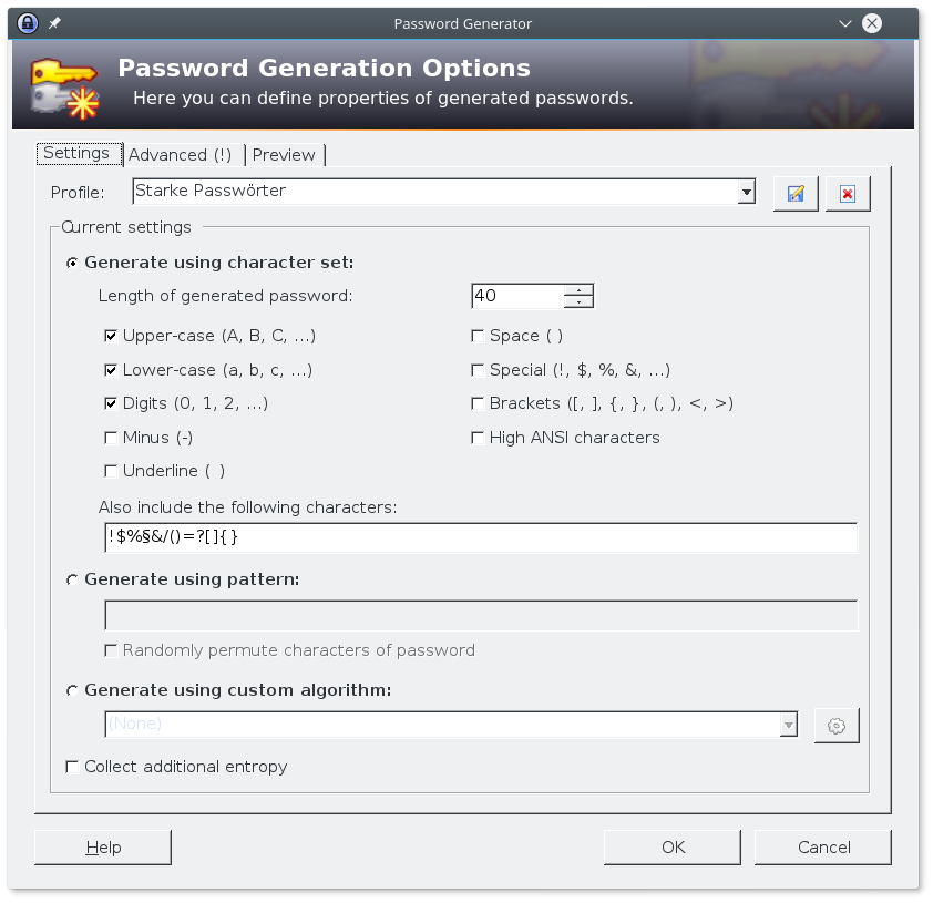 KeePass Profileinstellungen des Passwortgenerators