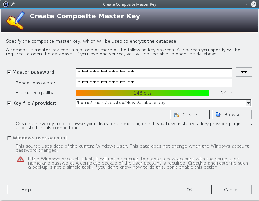KeePass Vergabe des Master Passworts