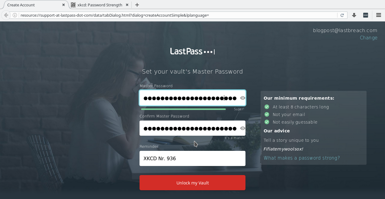 LastPass Account Registrierung